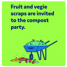 Fruit and vegie scraps are invited to the compost party.