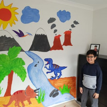 Child with a mural