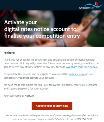 Digital Rates Notice Registration - Activation Email
