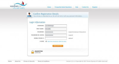 Digital Rates Notice Registration - Choose Password