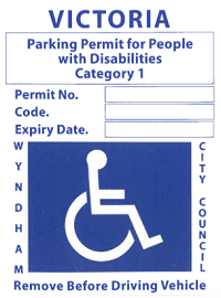 Disability Parking Permit - Blue