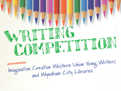 text reads: Writing Competition presented by Imagination Creation Western Union Young Writers and Wyndham City Libraries