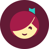 The Libby icon is an illustrated girls head, with a deep fringe covering her left eye, and a small green ribbon bookmark in her hair.