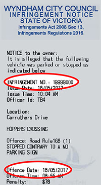 Infringement notice with highlight