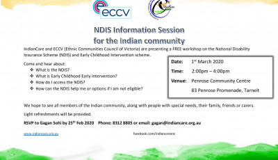 Free NDIS awareness session for Indian community